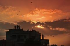 Силуэт фестиваля летания змея также вызвал ` Makar Sankranti ` в Индии Стоковое Изображение