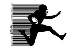Силуэт футболиста также вектор иллюстрации притяжки corel Стоковая Фотография