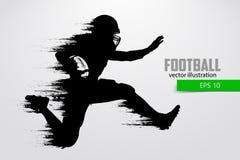 Силуэт футболиста также вектор иллюстрации притяжки corel Стоковые Изображения