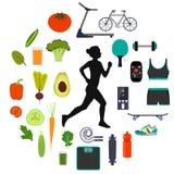 Силуэт хода женщины, окруженный значками здоровых еды, овощей и спортивного инвентаря для различных спорт Здорово иллюстрация штока
