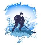 Силуэт хоккеиста, играя игру Стоковое Изображение RF