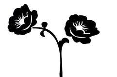 силуэт цветков Стоковое Изображение