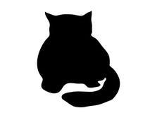 силуэт черного кота Стоковое Изображение RF