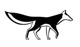Силуэт черной лисы декоративный на белой предпосылке Стилизованное графическое изображение также вектор иллюстрации притяжки core Стоковые Фотографии RF