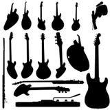 силуэт электрической гитары Стоковая Фотография RF