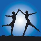силуэт 2 танцульки балета Стоковое фото RF