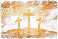 Силуэт 3 крестов Стоковое Фото