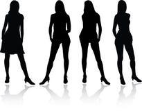 силуэт 4a установленный девушками Стоковое фото RF