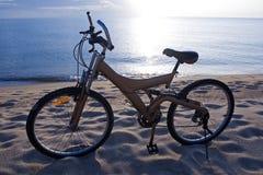 силуэт bike пляжа Стоковые Фотографии RF