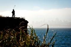 силуэт francisco san рыболова Стоковые Изображения