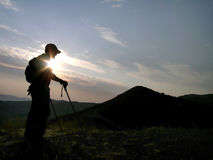 силуэт hiker Стоковые Изображения RF