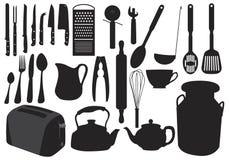 силуэт kitchenware Стоковое фото RF
