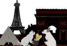 Силуэт Margot и Рэнди к Парижу с Эйфелевой башней и Лувр бесплатная иллюстрация