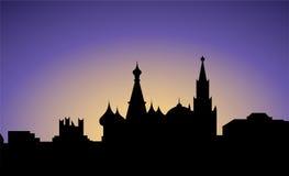 силуэт moscow России города Стоковая Фотография