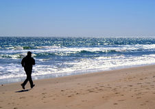 силуэт nc jogger Каролины пляжа мыжской Стоковые Изображения RF