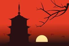 силуэт pagoda Стоковая Фотография