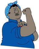 Сильная чернокожая женщина изгибая ее мышцу Стоковые Изображения