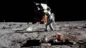 Сильно реалистическая анимация астронавта идя на луну иллюстрация штока