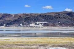 Сильно соляное озеро Drangyer Tsaka в Тибете летом, Китае стоковое изображение rf
