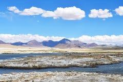 Сильно соляной Nak Ruldan озера около деревни Yakra в Тибете в солнечной погоде, Китае стоковое фото