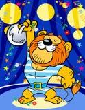 Сильный львев в цирке Стоковая Фотография