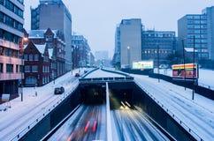 Сильный снегопад в Бирмингеме, Великобритании стоковая фотография