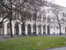 Сильный снегопад в Мюнхене стоковая фотография rf