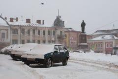 Сильный снегопад в среднеевропейской России Стоковые Фотографии RF