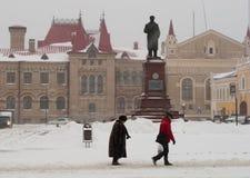 Сильный снегопад в среднеевропейской России Стоковое Фото