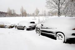 сильный снегопад города стоковое фото rf
