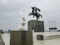 Сильный снегопад Thessaloniki, Греции в центре города стоковое изображение