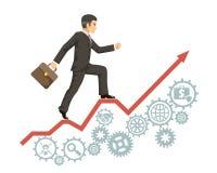 Сильный уверенный опытный случай атташе делового костюма бизнесмена идет успех infographic стрелка зацепляет изолированные значки иллюстрация вектора