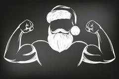 Сильный человек Санта Клауса, спорт, эскиз иллюстрации вектора руки символа рождества вычерченный нарисованный в меле на черной д иллюстрация вектора