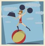 Сильный человек цирка год сбора винограда Стоковая Фотография