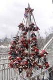 Символическое дерево для замков - традиция свадьбы и символ влюбленности Стоковая Фотография RF