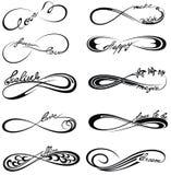 Символы безграничности с словами для татуировки Стоковое Изображение RF