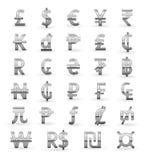 символы валюты серебряные Стоковая Фотография RF