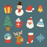 Символы вектора значков рождества для торжества Нового Года зимы поздравительной открытки конструируют Стоковые Фото