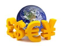 символы глобуса валюты иллюстрация вектора