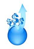 символы глобуса долларов стрелки голубые Стоковое Фото