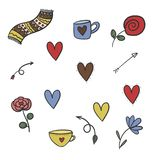 Символы дня валентинок иллюстрация вектора