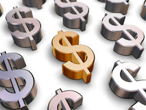 символы доллара 3d Стоковая Фотография RF