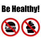 символы еды здоровой запрещенные литерностью иллюстрация вектора