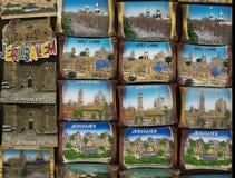 Символы Иерусалима на сувенирах магнита от Святой Земли стоковая фотография rf