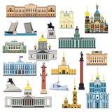 Символы и объекты шаржа установленные Санкт-Петербурга иллюстрация штока