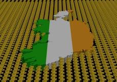 символы карты Ирландии флага евро иллюстрация вектора