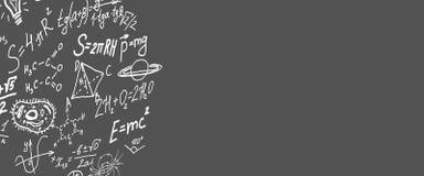 Символы науки, формулы на сером экземпляре предпосылки размечают иллюстрацию 3D Стоковое фото RF
