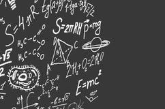 Символы науки, формулы на сером экземпляре предпосылки размечают иллюстрацию 3D Стоковые Фотографии RF