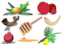 символы пакета праздников еврейские стоковое изображение