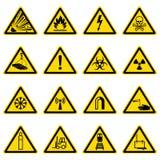 Символы предупреждения и опасности на желтых треугольниках vector собрание иллюстрация вектора